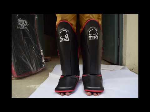 New Rex Leather Gel Shin Instep Pads MMA Leg Foot Guards Muay Thai Kick Boxing