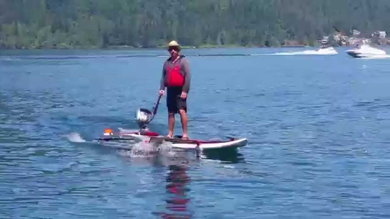 Stand Up Paddle Board With Motorized Pontoon Youtube