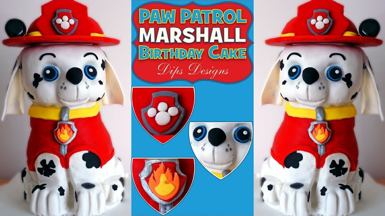 Paw Patrol Birthday Cake Marshall Kids Party Decorating Idea Dog Shape How To Make Tutorial