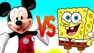 ГУБКА БОБ VS МИККИ МАУС | СУПЕР РЭП БИТВА | SpongeBob Squarepants ПРОТИВ Mickey Mouse Cartoon