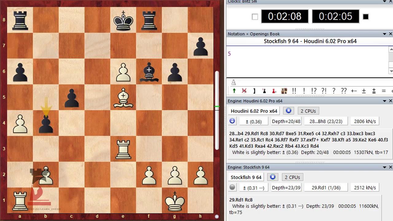 Stockfish 9 64 vs Houdini 6 02 Pro x64 1 0 AMAZING rook endgame