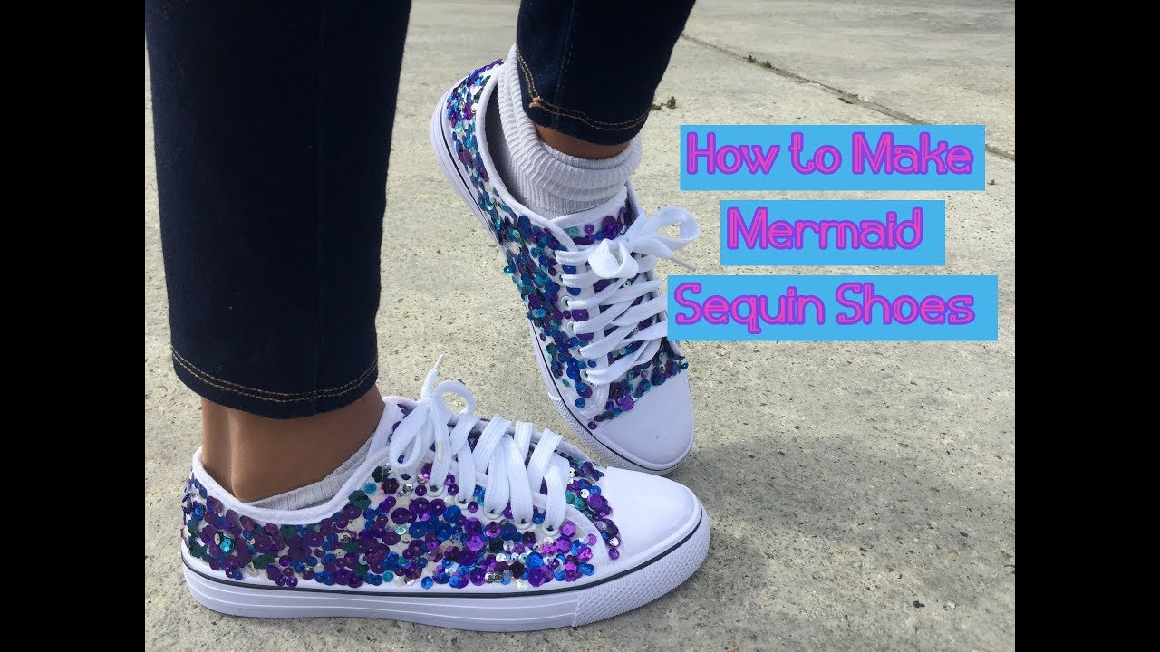 Make Sequin Mermaid Shoes | Glitter DIY