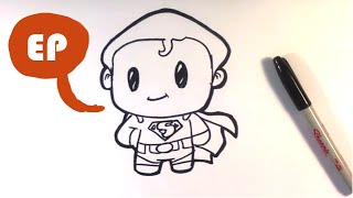 How to Draw Cute Superman - Easy Pictures to Draw