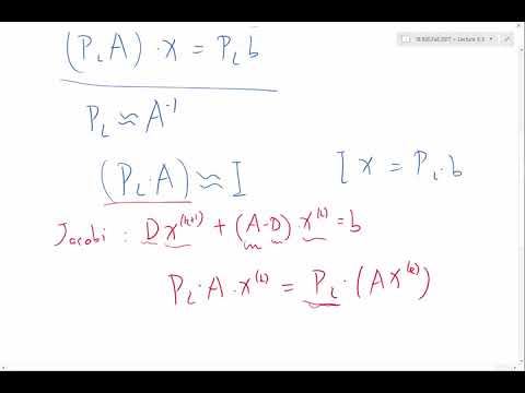 Preconditioning in iterative solution of linear systems