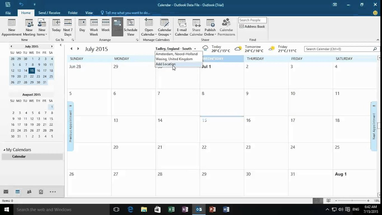 Office Calendar 2016 : Office adding the weather to the outlook calendar youtube