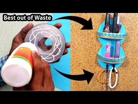 DIY Waste CD Craft ideas || Easy DIY Craft with CD/DVD || Makeup Organizer With Old CD/DVD