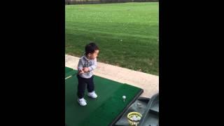 Baby James Kim golfer.  1 year old golf