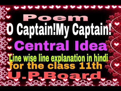 O Captain!My Caption!(Central Idea) for class 11th, up board