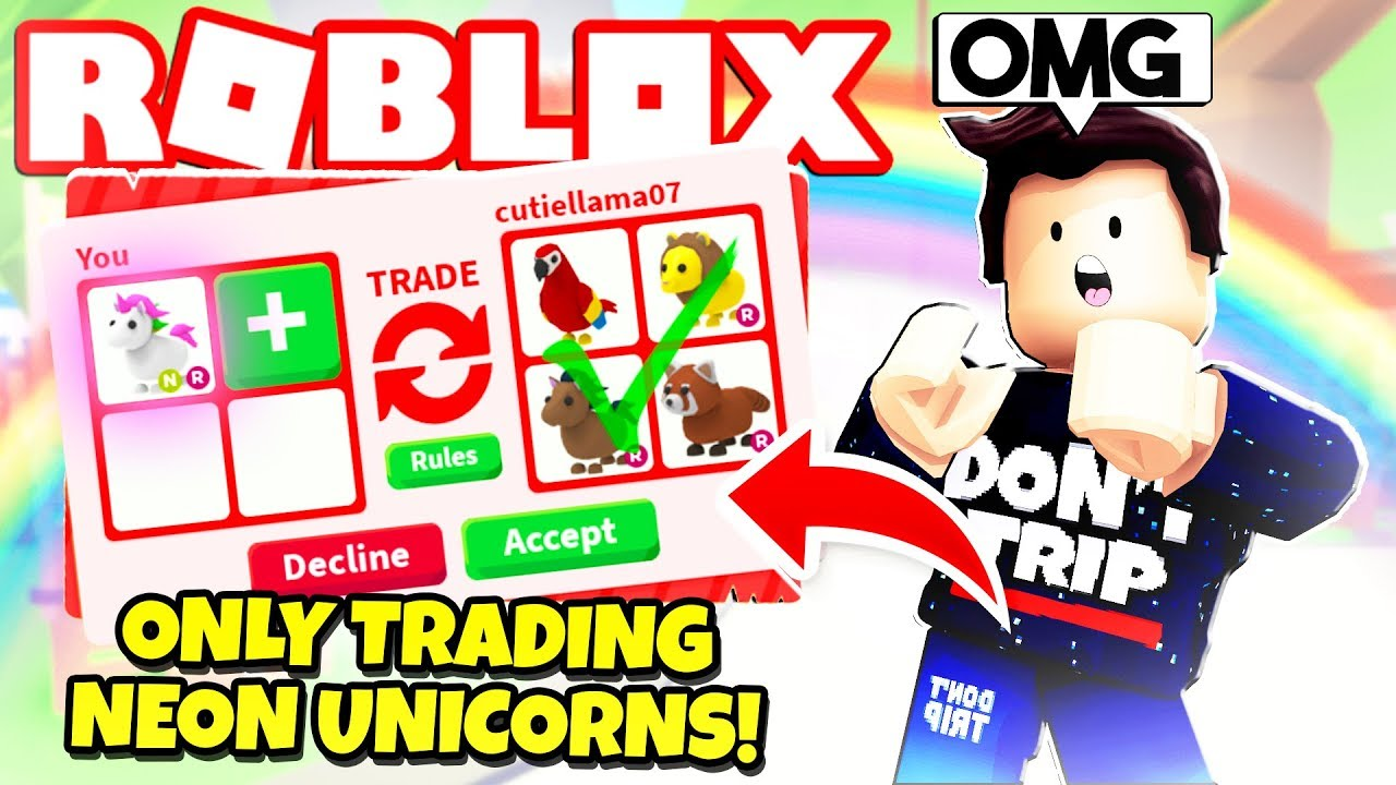 Jeremy Youtube Roblox I Only Traded Neon Unicorns In Adopt Me New Adopt Me Pet Toys Update Roblox Youtube