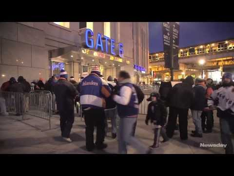 Islanders and Rangers fans at Yankee Stadium