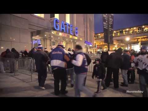Islanders and Rangers fans at Yankee Stadium