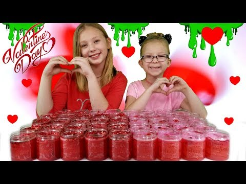 Making Slime For Our Classmates On Valentine's Day !!! DIY Valentine's Day Slime For School!!!