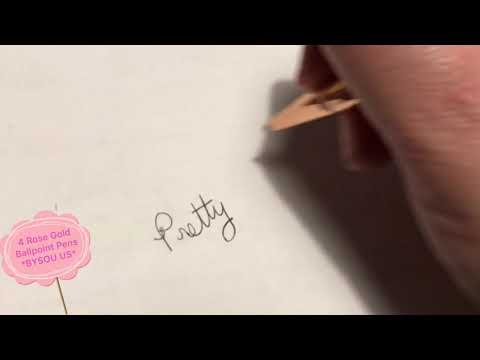 BYSOU 4-Pack of Rose Gold Ballpoint Pens w/Pink Glitter