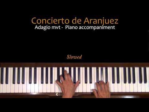 Rodrigo Concierto de Aranjuez Adagio Piano Accompaniment Tutorial SLOW