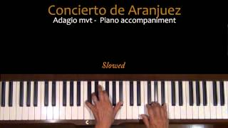 Rodrigo Concierto de Aranjuez Adagio Piano Accompaniment Tutorial SLOW