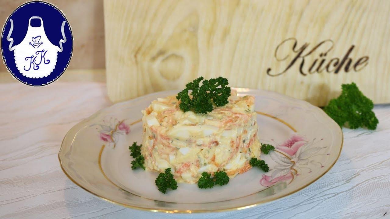 Eiersalat mit Möhren und Käse, schnell, einfach und lecker