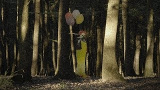 clown in the woods caught on video