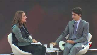 Melinda Gates in conversation with Justin Trudeau on gender equality, youth voting, and more