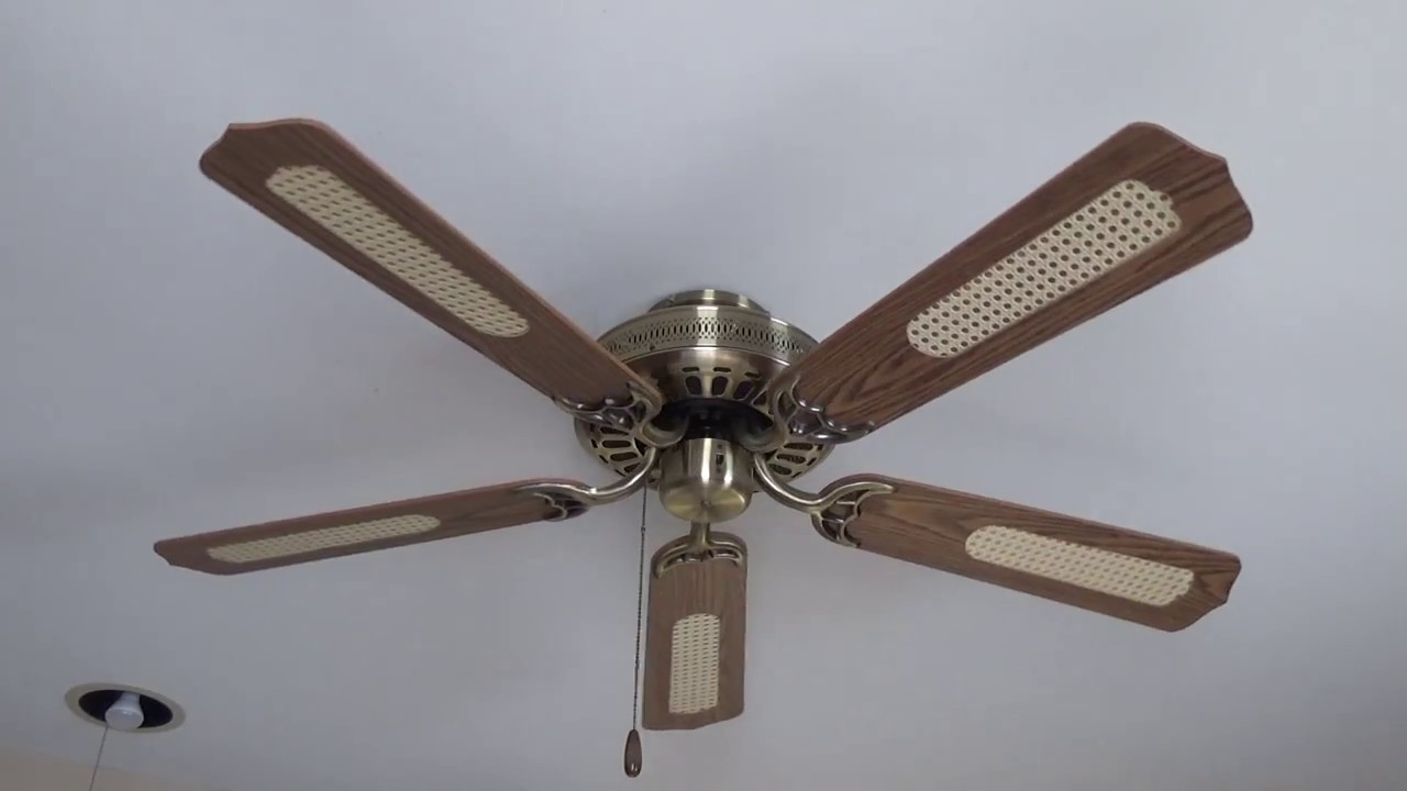 52 Quot Halsey Ceiling Fan In Antique Brass With Cane Blades