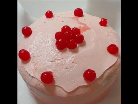 Maraschino Cherry Cake with Maraschino Cherry Buttercream