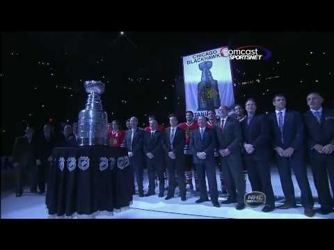 Chicago Blackhawks Stanley Cup banner raising Against Red Wings - NHL Comcast Sportsnet Feed