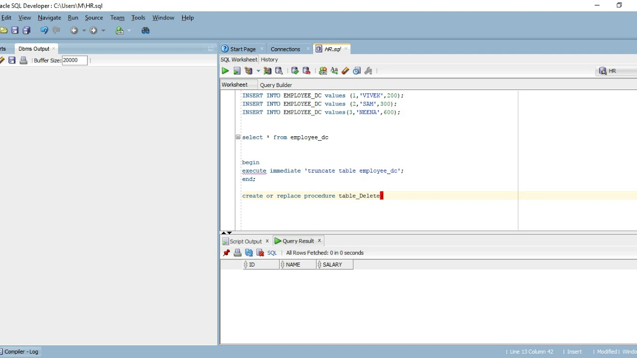 execute immediate sql oracle example