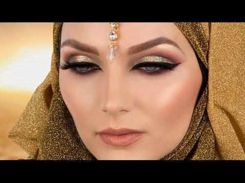 Gold Cut Crease Red Smokey Eye Arabic Makeup