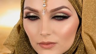 Gold Cut Crease Red Smokey Eye Arabic Makeup