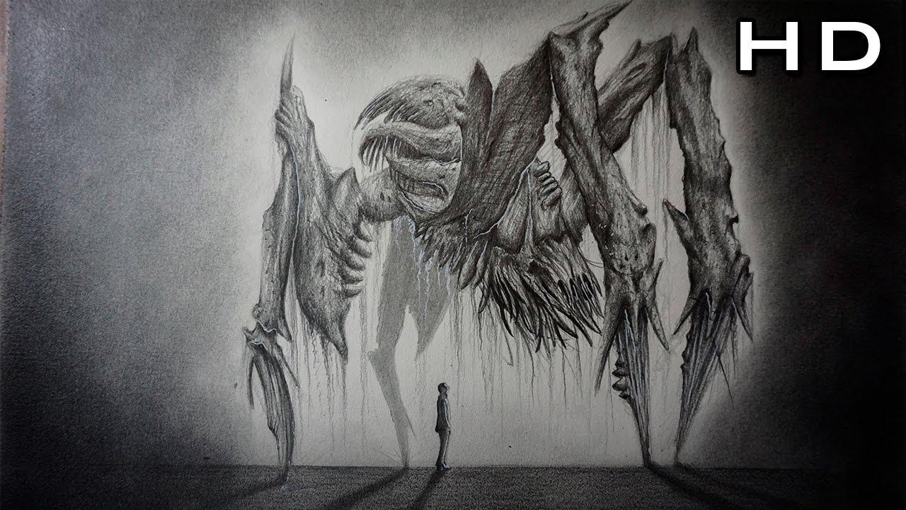 Cómo Dibujar Un Monstruo Realista Paso A Paso Dead Space Art Youtube