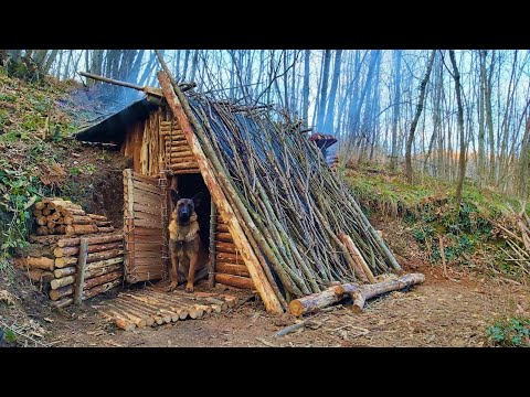 Bushcraft Winter Camping - Build Survival Forest Shelter - Off Grid Tiny House - Diy - Asmr