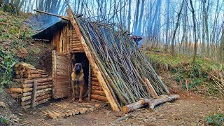 Bushcraft Winter Camping - Build Survival Forest Shelter - Off Grid Tiny House - Diy - Asmr