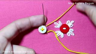 Hand embroidery button tricks, Hand Embroidery techniques with button, Different classes embroidery