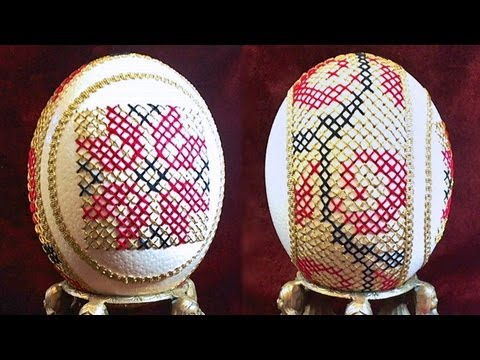 Learn How To Sew Cross Stitch Eggs (Sewing Cross Stitched Ostrich ...