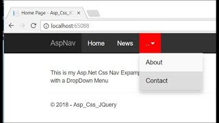 ASP DropDown Menu Panel in Asp Net MVC Core