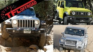 This carwow Jeep Wrangler vs Mercedes G63 vs Suzuki Jimny Off-Road Review Is Very Confusing!