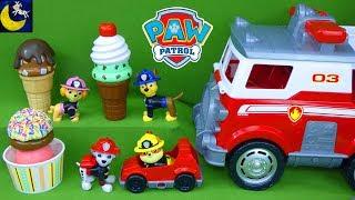 Paw Patrol Ultimate Rescue Fire Truck Fireman Pups Get Surprise Desert Ice Cream Cones Toys Video