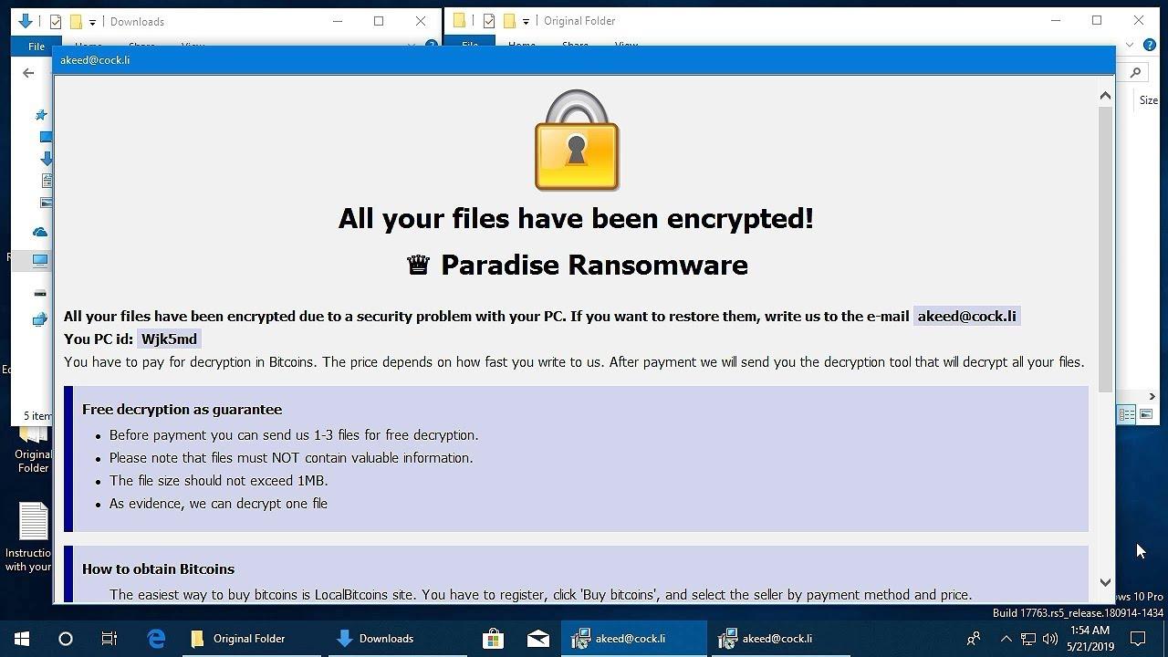 AppCheck Anti-Ransomware : Paradise Ransomware  (_{Random}_{akeed@cock li} filesambo) Block Video