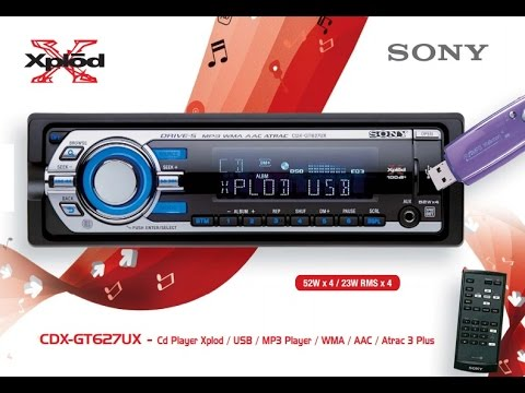 Sony CDX-GT627UX \u2013 Cd Player Xplod / USB / MP3 Player / WMA / AAC