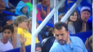 Andy Murray almost hits umpire with the ball!