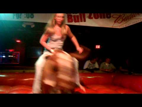 M girl riding the bull at alligator ally!!!