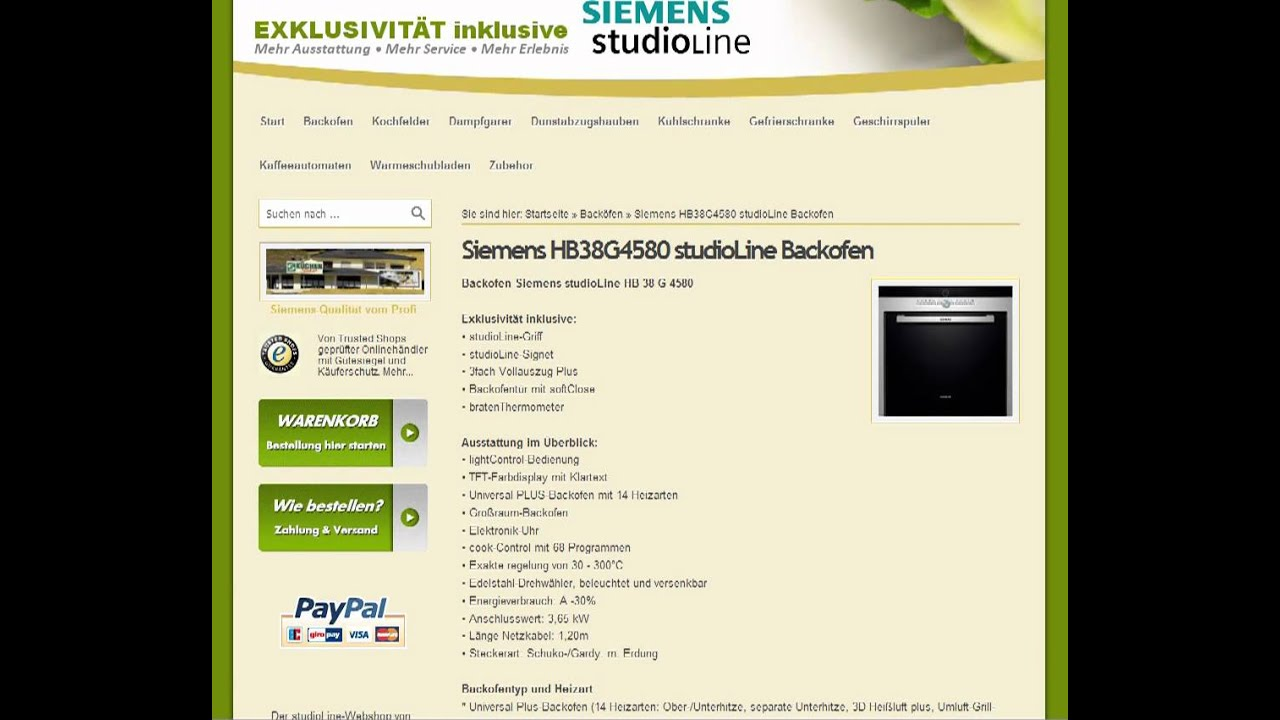 Siemens HB38G4580 StudioLine Backofen   YouTube