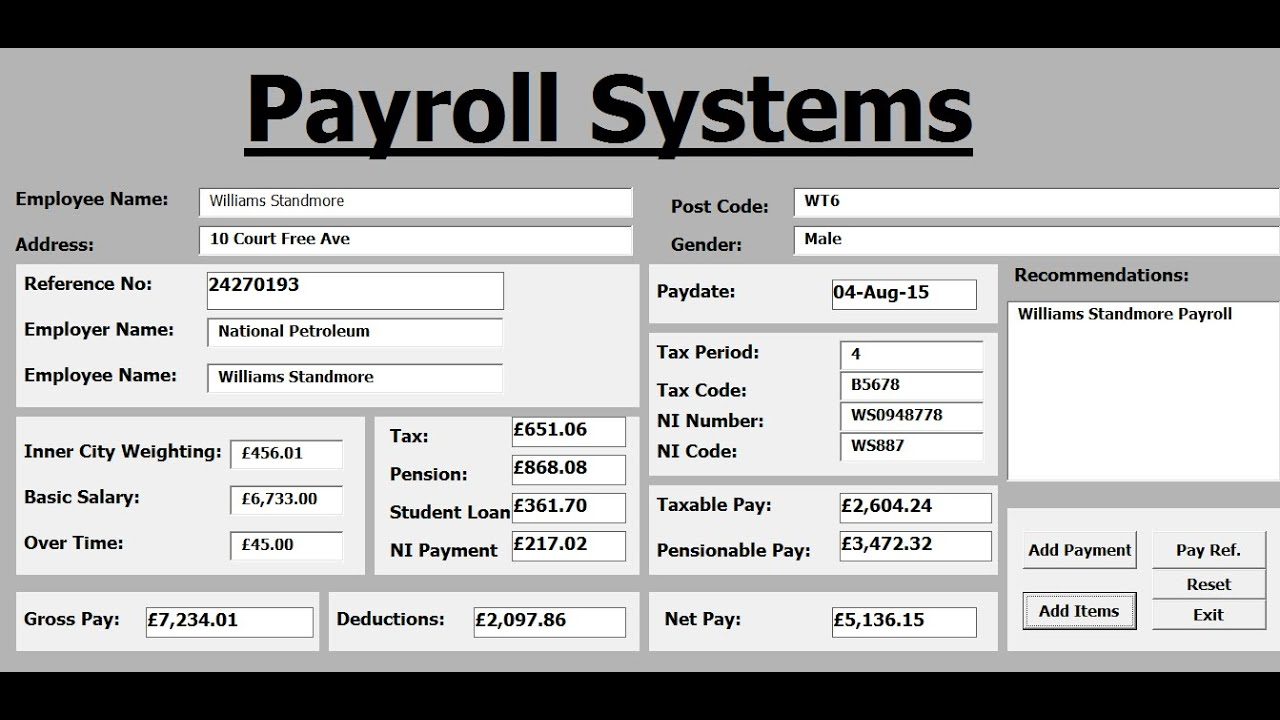 how to create payroll systems in excel using vba