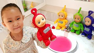 finger family color song / bath play with Teletubbies | Kids song & Nursery rhymes 사랑이의 텔레토비 목욕 놀이