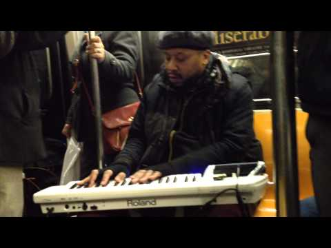 Keyboard player on the Shuttle to Times Square, NYC - 3.24.15