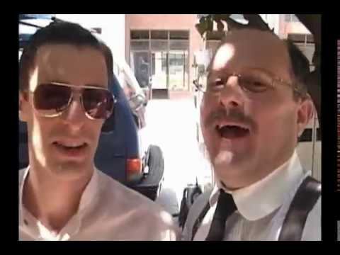 Neill Calabro goofin' with Sopranos Will Janowitz on set of People v. Leo Frank