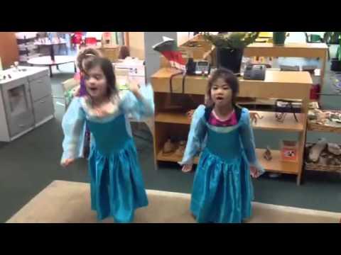 "Impromptu ""let it go"" in new Elsa dresses."