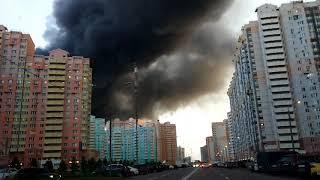 Пожар синдика строительный рынок Москва МКАД Строгино