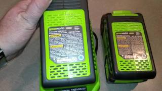 Review of the GreenWorks 40v, 2 & 4 amp battery