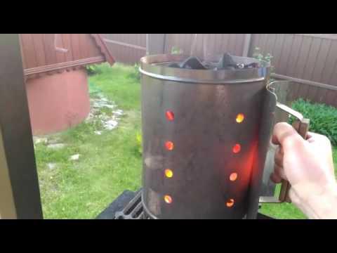 Стартер для розжига углей в работе