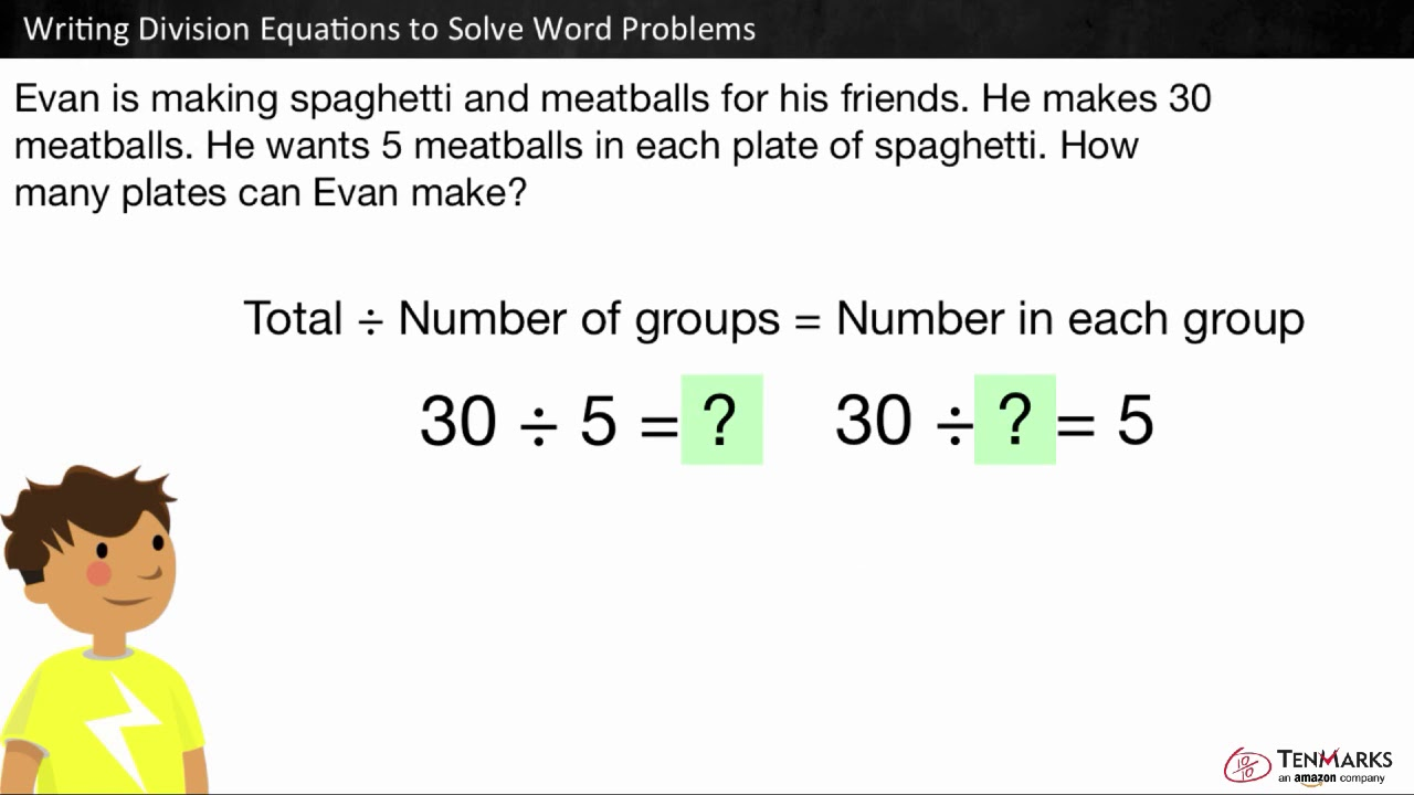 Writing Division Equations to Solve Word Problems: 22.OA.22